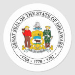 Sello del estado de Delaware Pegatina Redonda