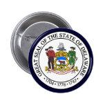 Sello del estado de Delaware Pin Redondo De 2 Pulgadas