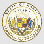 Sello del estado de Hawaii Pegatina Redonda