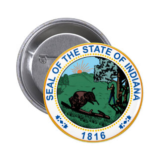 Sello del estado de Indiana Pin Redondo 5 Cm