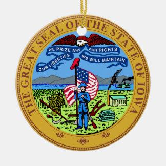 Sello del estado de Iowa Adorno Redondo De Cerámica
