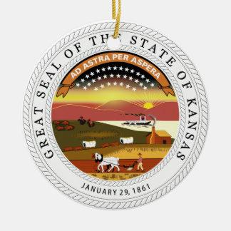 Sello del estado de Kansas Adorno Redondo De Cerámica