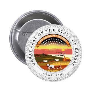 Sello del estado de Kansas Pin Redondo De 2 Pulgadas