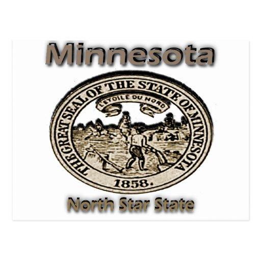 Sello del estado de la estrella del norte de tarjetas postales