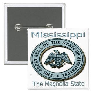 Sello del estado de la magnolia de Mississippi Pin Cuadrada 5 Cm