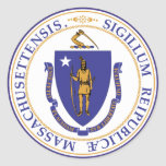 Sello del estado de Massachusetts Pegatina Redonda