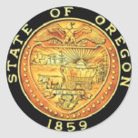 Sello del estado de Oregon Pegatina Redonda