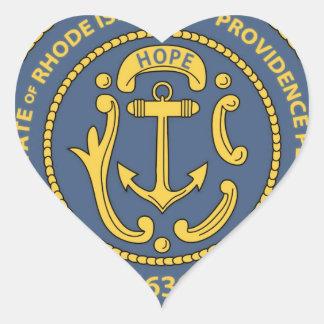 Sello del estado de Rhode Island Pegatina En Forma De Corazón