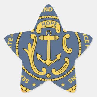 Sello del estado de Rhode Island Pegatina En Forma De Estrella
