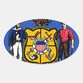 Sello del estado de Wisconsin Pegatina Ovalada