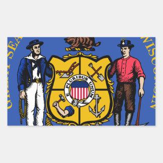 Sello del estado de Wisconsin Pegatina Rectangular