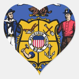 Sello del estado de Wisconsin Pegatina En Forma De Corazón
