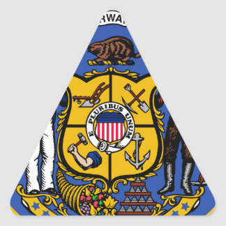 Sello del estado de Wisconsin Pegatina Triangular