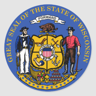 Sello del estado de Wisconsin Pegatina Redonda