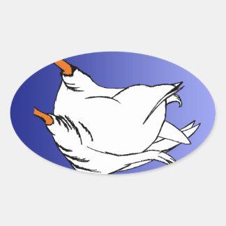 Sello del extremo del pato pegatina ovalada