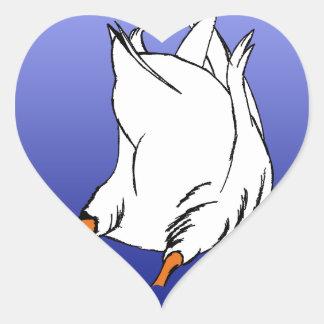 Sello del extremo del pato pegatina en forma de corazón