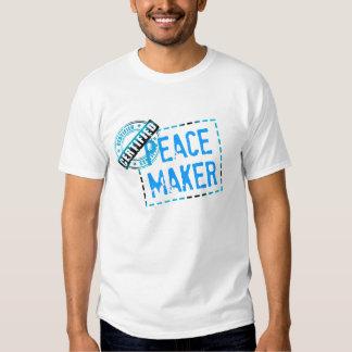 Sello del fabricante de la paz playera