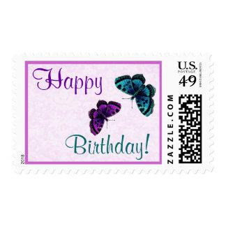 Sello del feliz cumpleaños con las mariposas