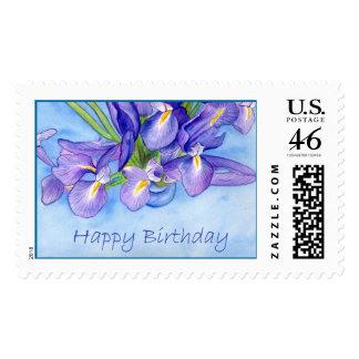"""Sello del """"feliz cumpleaños"""" del florero del iris"""