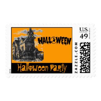 Sello del fiesta de Halloween de la casa encantada