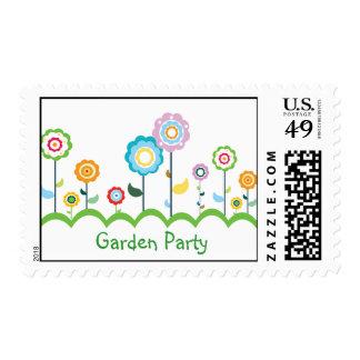 Sello del fiesta de jardín de flores