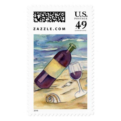 Sello del fiesta de la playa del vino rojo y del q
