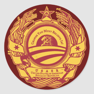Sello del fiesta de Obama del soviet Etiquetas Redondas