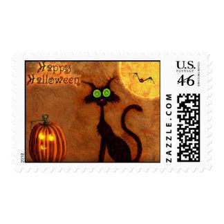 sello del gato de Halloween