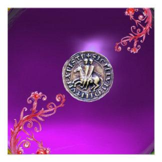 SELLO del gris púrpura de los CABALLEROS TEMPLAR Invitacion Personalizada