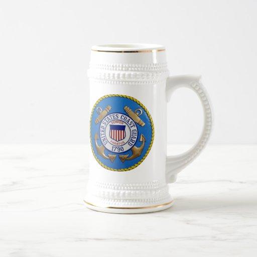 Sello del guardacostas tazas de café