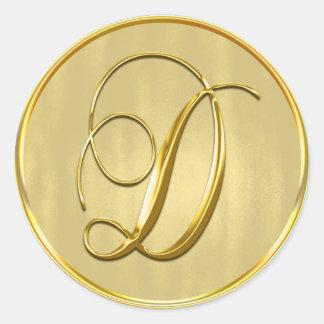 Sello del monograma D del oro Pegatina Redonda