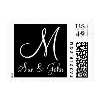 Sello del monograma del boda blanco y negro