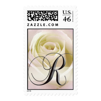 Sello del monograma del rosa blanco - R inicial