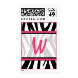 Sello del monograma - estampado de zebra y rosa