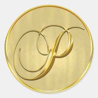Sello del monograma P del oro Pegatina Redonda
