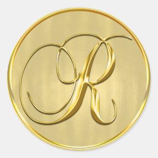 Sello del monograma R del oro Pegatina Redonda