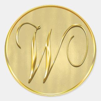Sello del monograma W del oro Pegatina Redonda