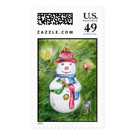 Sello del muñeco de nieve del árbol de navidad