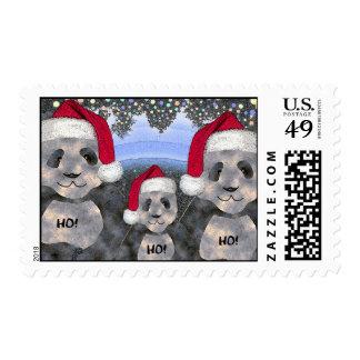 Sello del navidad de la familia de la panda