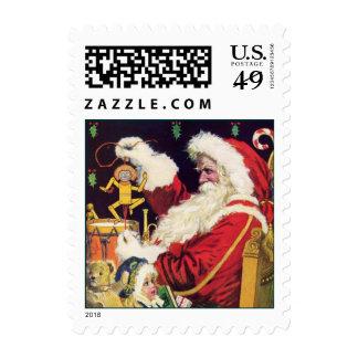 Sello del navidad de Papá Noel del vintage