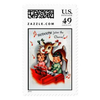 Sello del navidad del vintage de Rudolph