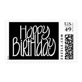 Sello del negro del feliz cumpleaños