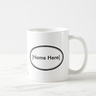 Sello del nombre de Personalizable Taza Básica Blanca