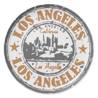 Sello del orgullo de Los Ángeles California Plato De Comida