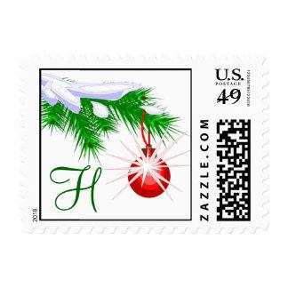 Sello del ornamento del navidad del monograma H