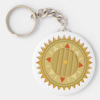 SELLO del oro: Compás de Sun CHAKRA Llavero Redondo Tipo Pin