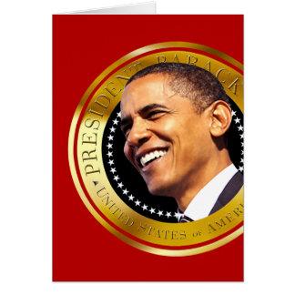Sello del oro de Barack Obama Tarjeta De Felicitación