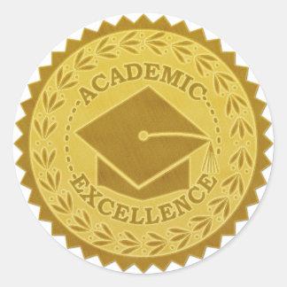 Sello del oro de la excelencia académica de la pegatina redonda