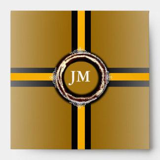 Sello del oro del sobre del cuadrado del monograma