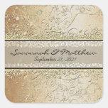 Sello del oro y del boda del cuadrado del remolino colcomanias cuadradases